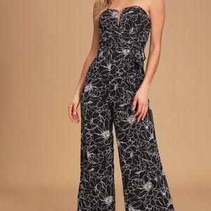 NWT black/white floral jumpsuit